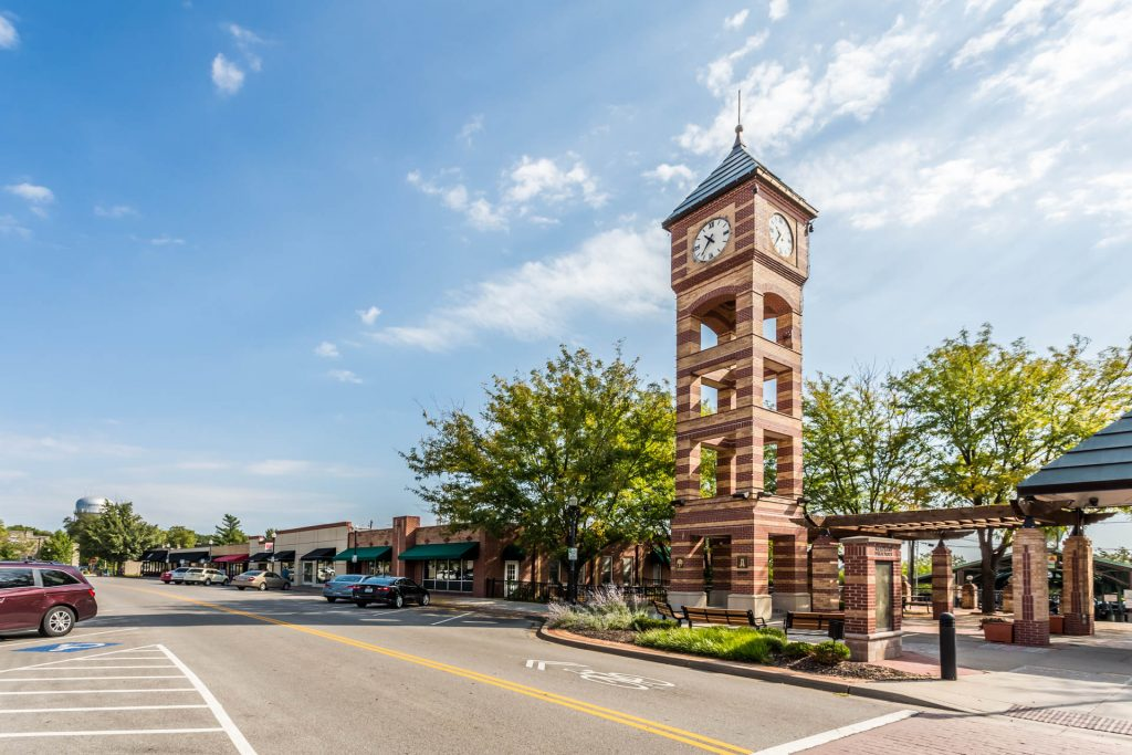 Overland Park KS downtown street view of clock tower plaza