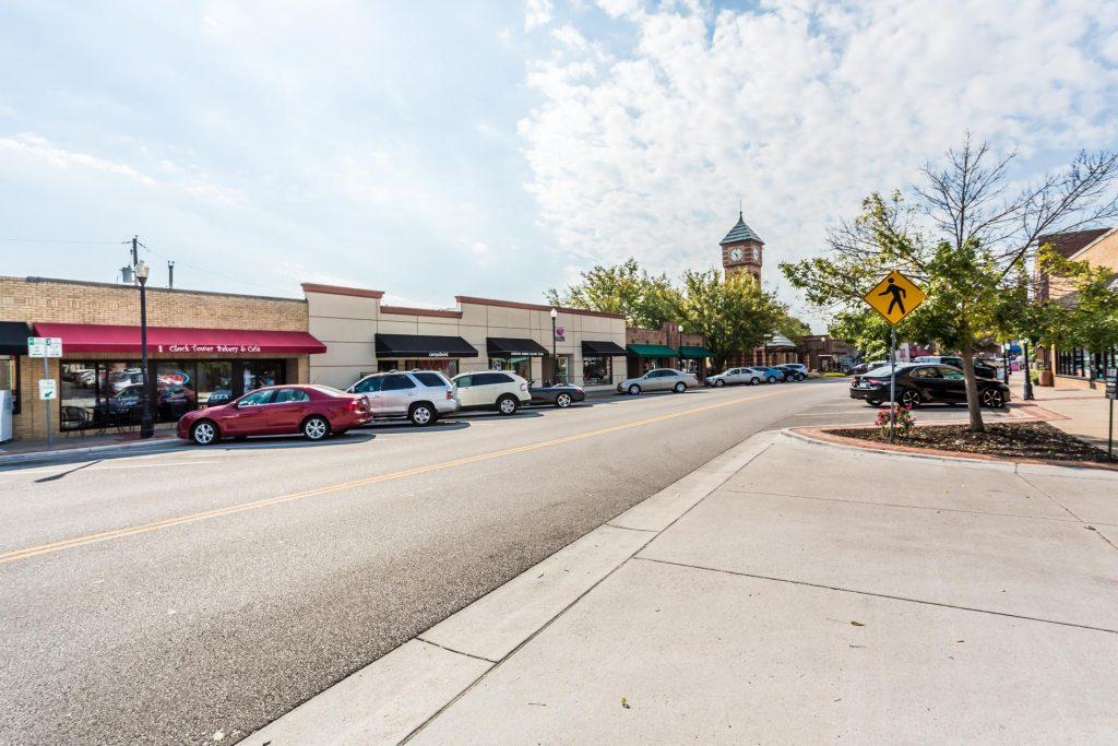 Overland Park KS downtown street view of main street